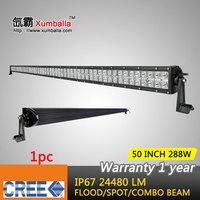 50 inch 288w CREE led light bar 12v flood spot combo beam led work light bar driving lights for offroad 4x4 truck boat ATV