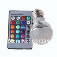 20sets/lot RGB LED Bulb 3w E27/E26 RGB LED 16Colors 85-265v +24 key remote controller