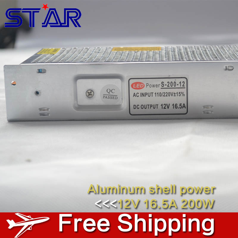 12V 16.5A 200W Switching Power Supply LED Strip Light Transformer Adapter Aluminum for Ledstrip Lighting non waterproof(China (Mainland))