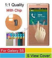 Galaxy S5 1:1 Official S View Flip Cover,Automatic Wake up/Sleep With IC Chip PU Leather Case For Samsung Galaxy S5 SV G900