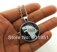 Free Shipping House Stark Necklace , Game of Thrones GoT House Sigil ,Pendant Gift ,Wolf Ned Arya Catelyn Sansa Robb Bran