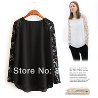 (Free Shipping) 2014   Women's Girls Hook Flower Lace Sleeve Casual  Blouse Ladies fashion  shirt