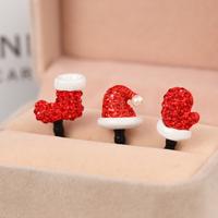 $15 Free Shipping Kpop Luxury Diamond Socks Hat Gloves Christmas Tree Anti Dust Plug for Cell Phone/ks Rhinestone Earphone Cap