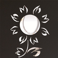Free shipping sunshine flower combination wall stickers crystal DIY 3d cartoon mirror surface wall sticker child's gift