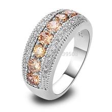 Wholesale GorgeousRound Cut Morganite & White Topaz 925 Silver Ring Size 6 7 8 9 10 Women's Fashion Party Gift(China (Mainland))