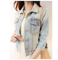 Reminisced New 2014 Spring Summer Fashion Brief Vintage Denim Short Jacket Women Denim Outwear Cool Coat WT06