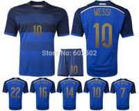 Can Custom Names&Numbers 2014 MESSI #10 DI MARIA KUN AGUERO MARADONA Away blue high quality Soccer Uniforms Set