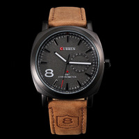 Hot  Sale!! New CURREN  Unisex Stylish Quartz Analog Watch with Leather Strap  Fashion man watches wholesale