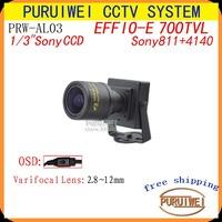 "New arrival 100%Original 1/3""Sony Effio-E 700TVLines 960H CCD 2.8mm~12mm varifocal Lens OSD Menu Mini cctv camera. Free Shipping"