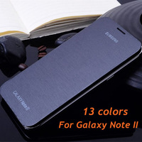 Original flip leather back cover cases battery housing case free screen protector for Samsung Galaxy Note II 2 N7100 7100 Note2