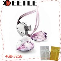 crystal heart usb pen drive flash memory  4gb/8gb/16gb/32gb usb flash card gift necklace u disk