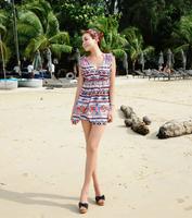 2014 new spring summer lady fashion sexy beach short backless dress, V neck sleeveless aztec mini dress
