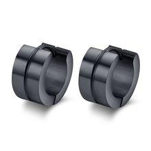 10pair wholesale lots black hoop earrings stainless steel punk ear cuff jewelry bijoux(China (Mainland))