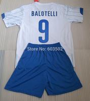 Emroidery Logo Quality 2014 balotelli,cassano,pirlo Away White Soccer jersey Kits (Jersey+Short) Men Uniforms Free Custom