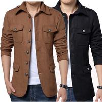 Free shipping 2014 new hot spring casual men's fashion men's woolen coat jacket men spring M / XXL