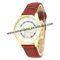 Fashion Imitate Shelly Face Watch Geneva Casual Quartz Watches Women Rhinestone Leather Dress Wrist Watches Free Shipping