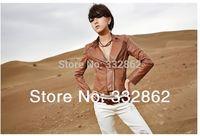 SOPHY / 2014 spring wild brown minimalist Slim PU leather jacket women