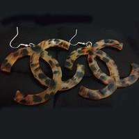 Fashion Sexy Acrylic Classics leopard stripes  Letter Drop Earring Eardrop Europe design