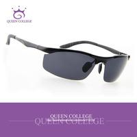 Queen College with Original case brand Al-Mg Alloy sport sunglasses men hot selling pop polarized lens Sun Glasses QC0130