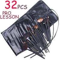 32 Pcs Pro lesson Black Rod Makeup Brush Cosmetic Set Kit with Case