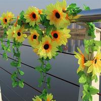 Garden Fancing Gate Decor Rattan Sunflower Artificial Flowers Vine Ornaments Home Decoration  Free Shpping 5pcs/lot 2.3m long