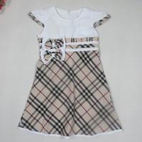 Brand Plaid Girls Dress New 2014 Summer Causal Cotton Bow Girl Dress White Blue Short Sleeve Kids Children Clothing 2-6 Years
