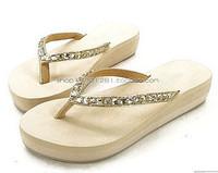 Acttip Women rhinestone slippers beaded flip flops beach slippers platform small wedges flip flops