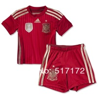 Baby gift 2014 Brazil World Cup Spain red kids FABREGAS INIESTA ramos TORRES XAVI ISCO MATA best quality children soccer jersey