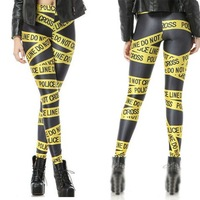 Wholesale Fashion 2014 Womens Pirate Costume Leggins Galaxy Pants Digital Printing Yellow Police Cordon Woman Leggings3063