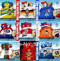 free shipping cotton football world cup spain England Brazil Italy printed bedclothes bed linen duvet cover set bedding set