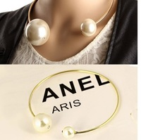 2014 new arrival hot fashion women's big simulated pearl collar bib statement necklaces choker pendant  12 pcs/lot