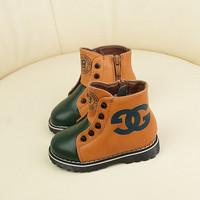 Autumn and winter female child martin boots child boots rivet plus velvet medium-leg boots baby 21 - 25