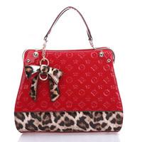Hot Sale 2014 Luxury women handbag designer leopard print flower embossing patent leather tote bags