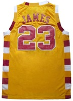 Free Shipping! #23 Lebron James throwback yellow (with maroon,white) jersey Embroidered logo( all name, numbers stitched )