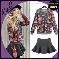 2014 Spring New Ruffle Skirt and Floral Printed Sweatshirt  Clothing Set Casual Style for Women Factory Dropshipping