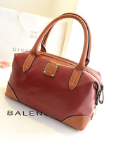2014 women's fashion PU leather handbag brief color block pincushion vintage bag british style shoulder bags messenger bag