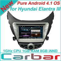 New Pure Android 4.1 Car DVD GPS Player for Hyundai Elantra III with Russian Menu Capacitive Screen Car Audio Radio Navigation