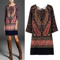 2014 New European Style Mango Designer Dresses Women Vintage Positioning Print Dress Knee-length Sexy Halter Dress