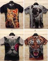 Free Shipping Fashion Animal Print 3D T shirt 3D Funny Crazy Tiger/Leopard/Panda/Pug/Cat Print Tshirt Man Z008
