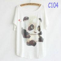 Spring Summer 2014 New Women Lovely Panda T-Shirt Large Size Print T-Shirts Short Sleeve Batwing T Shirt For Woman C104