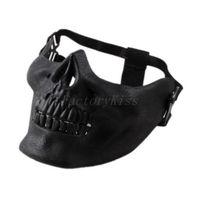 Free Shipping 2014 Promotion Mens Skull Skeleton Airsoft Game Hunting Biker Ski Half Face Gear Mask Guard [4003-012]