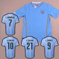URUGUAY HOME SKY BLUE 2014 WORLD CUP Jersey Fans Version Top Thailand Quality Soccer jersey football kits Uniform Shirt CAVANI