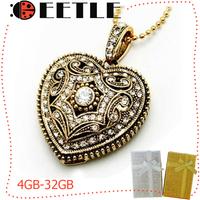 heart love usb Retro jewelry usb flash pen drive 4gb to 32gb memory card u disk metal flash usb drive gift box