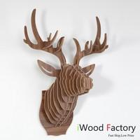 iWood  Deer Head Wall Hangings Euro Style Home Decor Diy Wall Sculptures Walnut