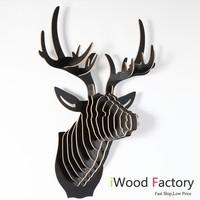iWood  Deer Head Wall Hangings Euro Style Home Decor Diy Wall Sculptures Black