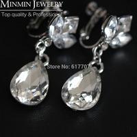 2014 New Arrival Free Shipping Waterdrop Leaf Rhinestone Crystal Bridal Earrings for Women Long Big Earrings Wedding Jewelry