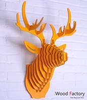 iWood  Deer Head Wall Hangings Euro Style Home Decor Diy Wall Sculptures Yellow