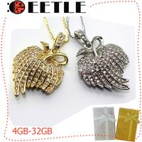 jewelry leaf pen drive usb flash diamond necklace usb flash memory card girl gift u disk sliver/gold