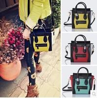 FREE SHIPPING Top Quality Genuine Cowskin Leather Women's Smiley Handbag Ladies Designer Tote Brand shoulder bag Hot sale 27 cm