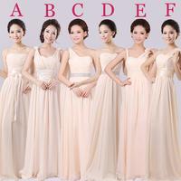 2014 New Cheap 6 Styles Fashion Long  (plus size) Champagne color chiffon bridesmaid dress under $ 50